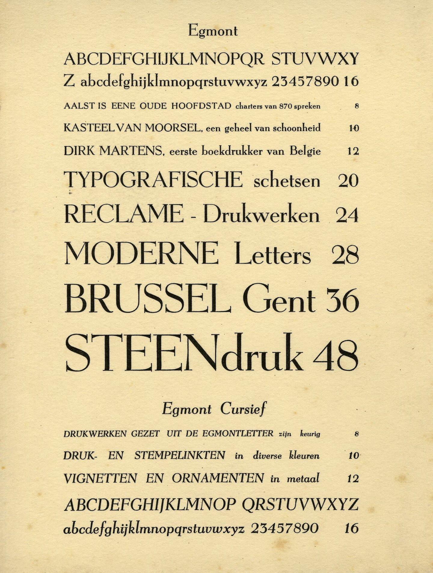 Letterproef van het lettertype Egmont