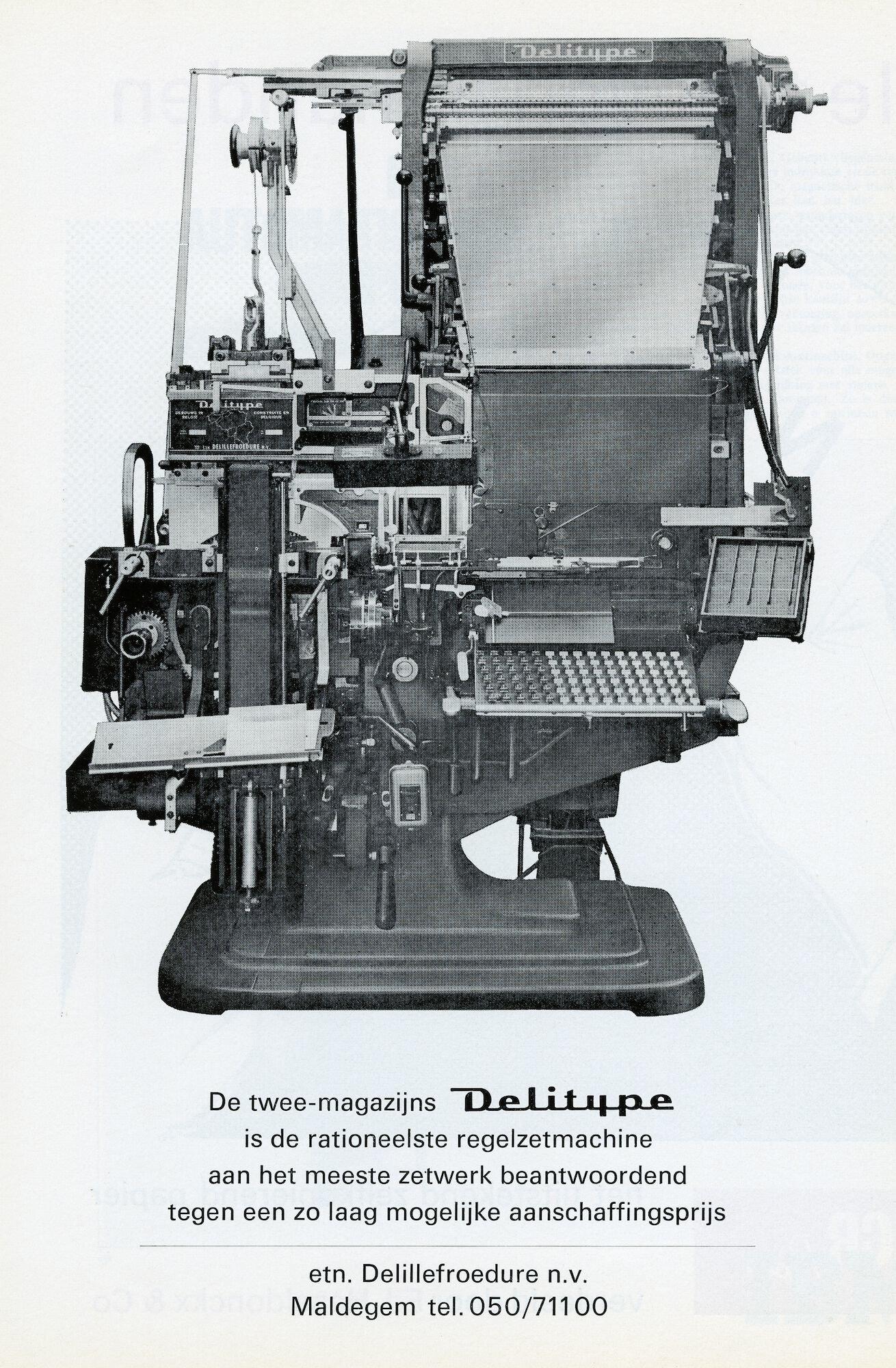 Reclame voor zetmachine Delitype van De Lille