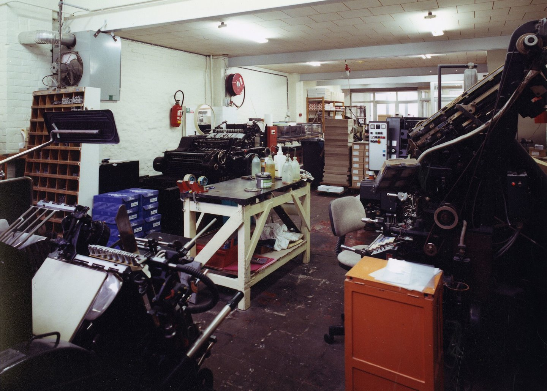 Binnenzicht van drukkerij Geltmeyer te Gent