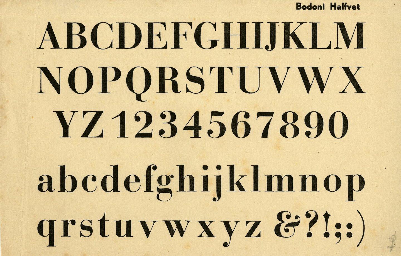 Letterproef van het lettertype Bodoni Halfvet