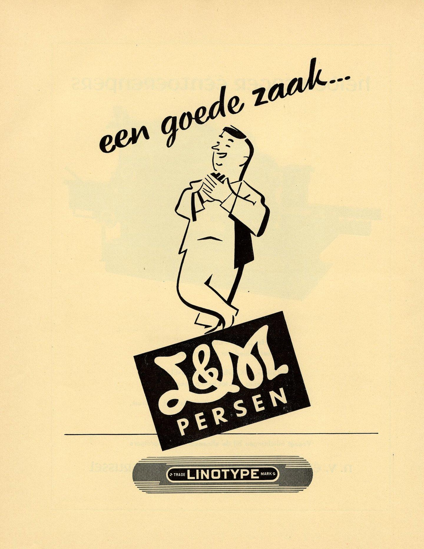 Reclame door Société Linotype Belge voor de L&M drukpers