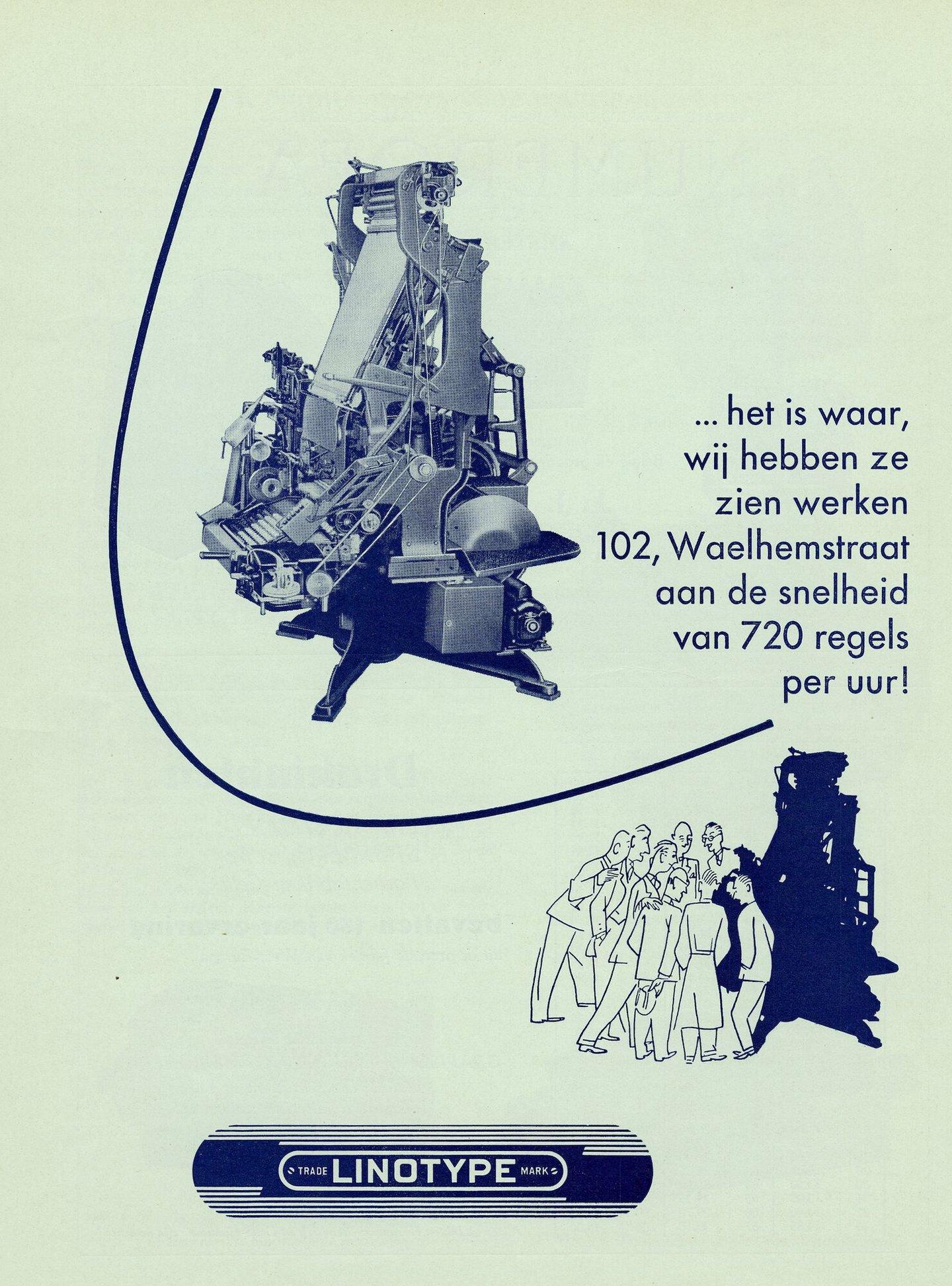 Reclame door Société Linotype Belge voor de Linotype zetmachine