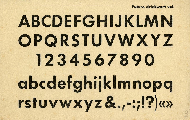 Letterproef van het lettertype Futura Driekwart Vet