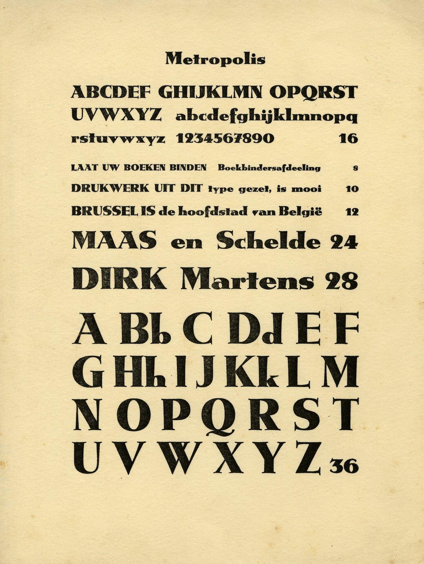Letterproef van het lettertype Metropolis