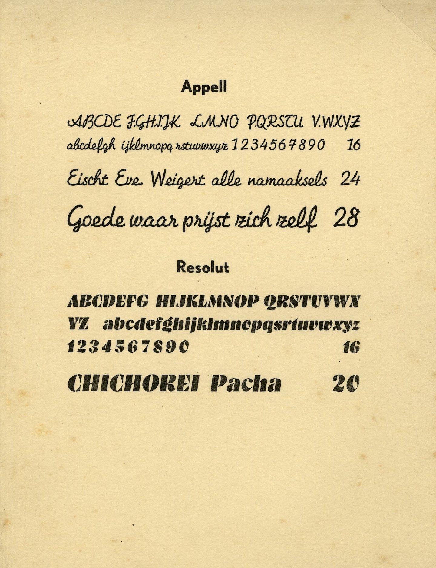Letterproef van de lettertypes Appell en Resolut