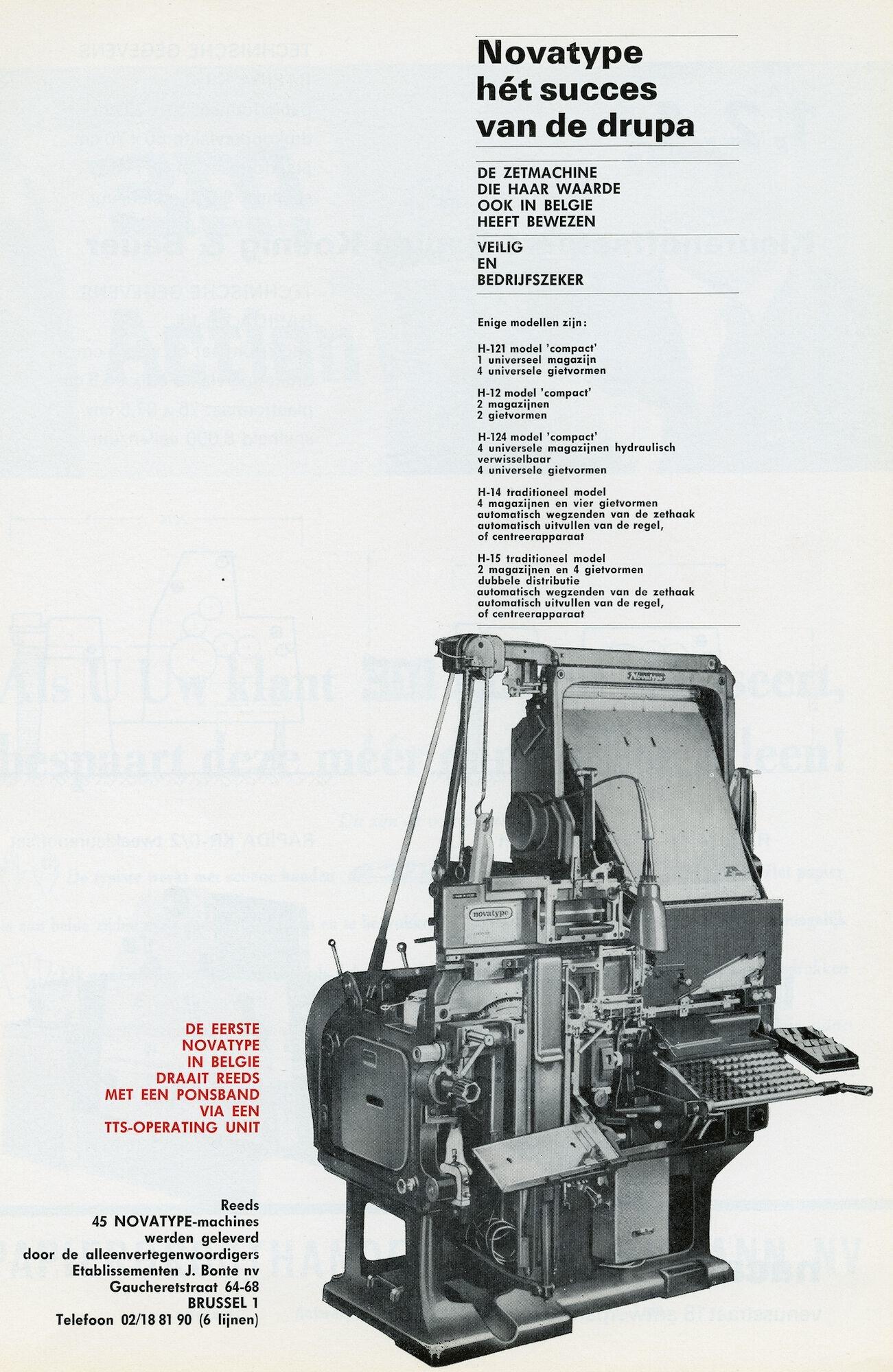Reclame voor zetmachine Novatype door J. Bonte