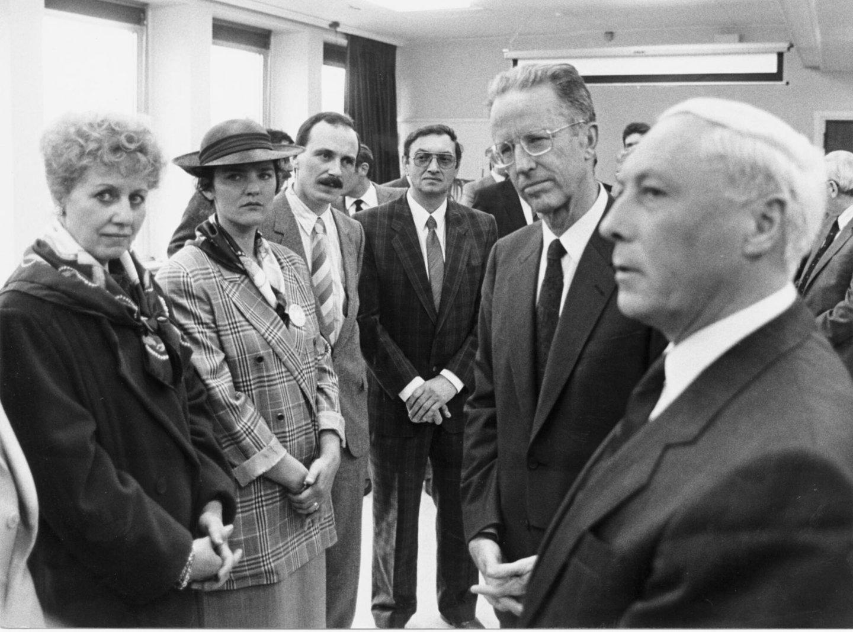 Bezoek van koning Boudewijn voor het 100-jarig bestaan van de krant Het Laatste Nieuws