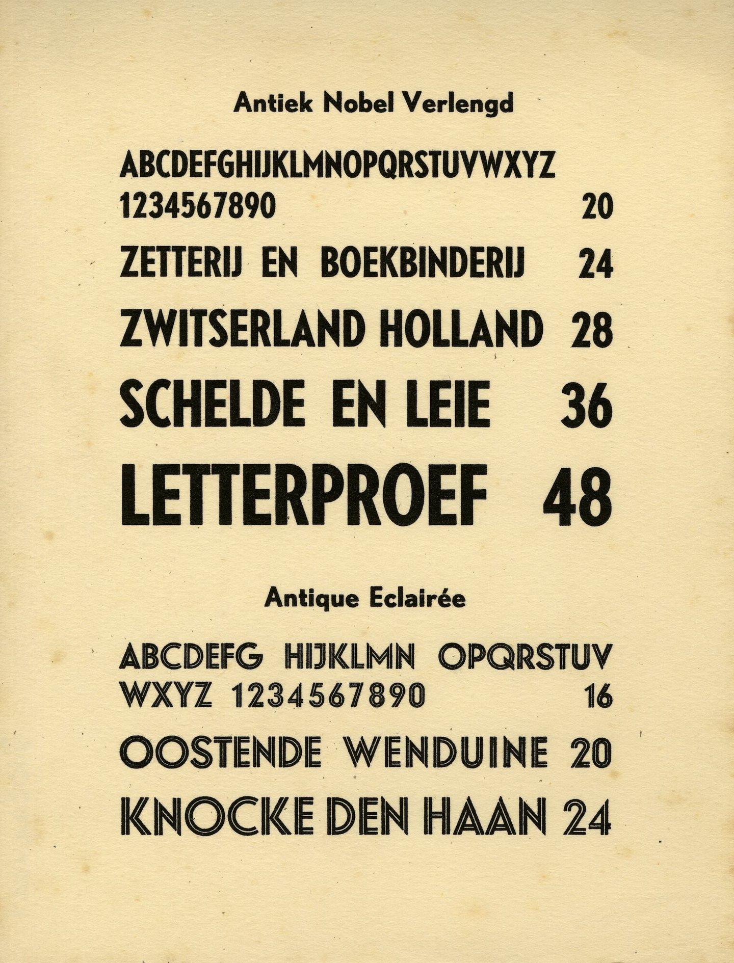 Letterproef van de lettertypes Antiek Nobel Verlengd en Antique Eclairée