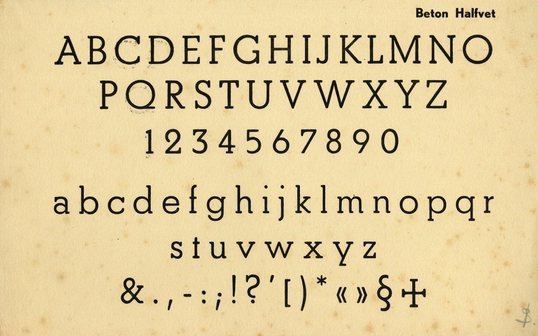 Letterproef van het lettertype Beton Halfvet