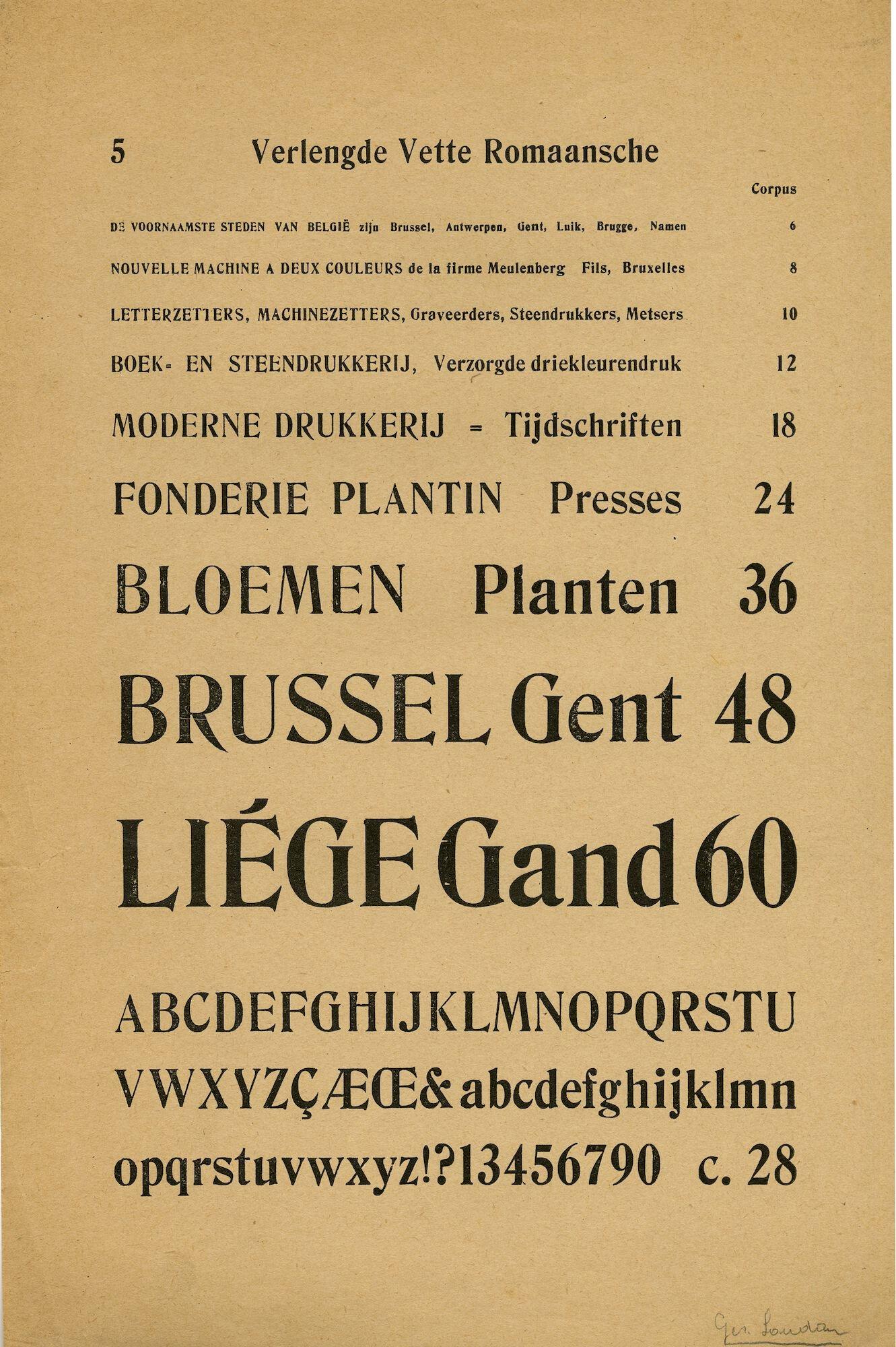 Letterproef van het lettertype Verlengde Vette Romaansche