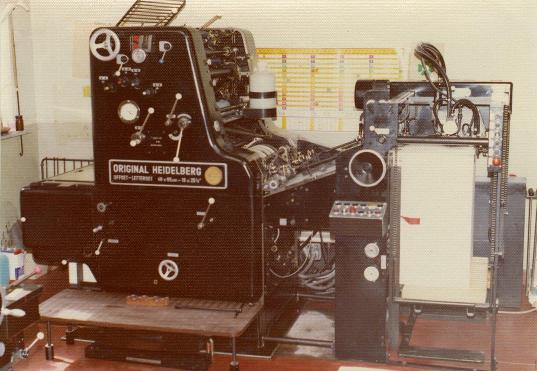 Offsetpers van het merk Heidelberg in drukkerij Verstraete te Ursel