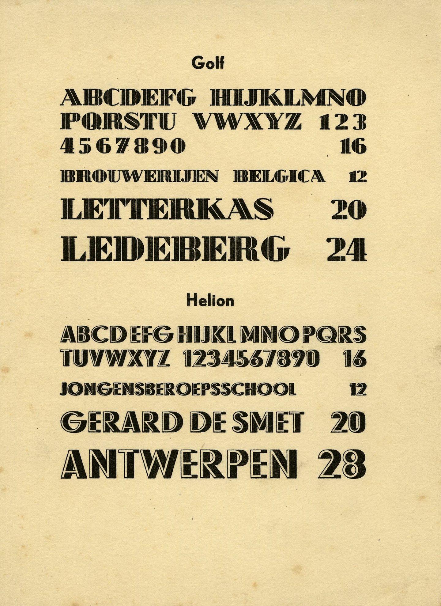 Letterproef van de lettertypes Golf en Helion
