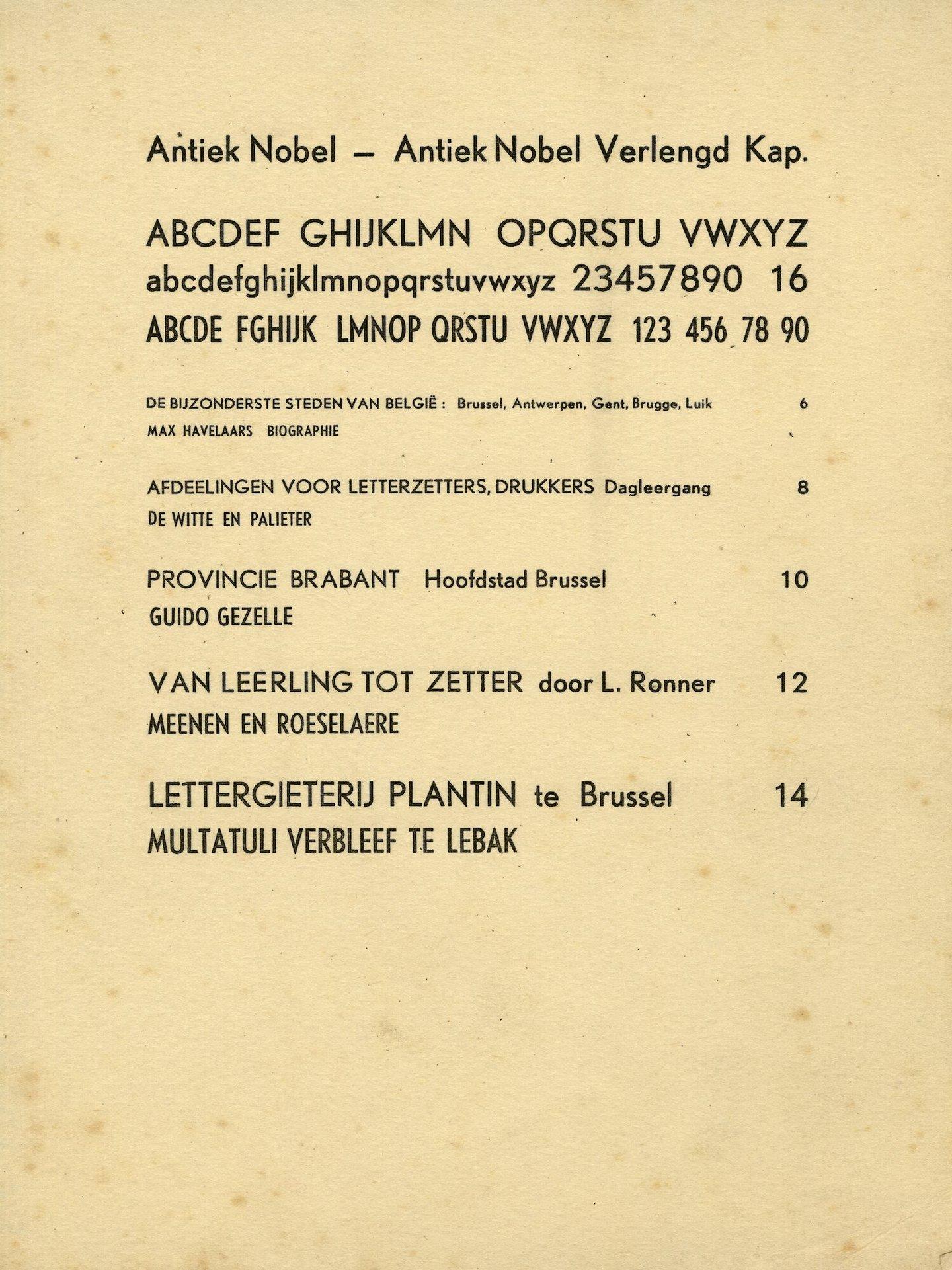 Letterproef van het lettertype Antiek Nobel