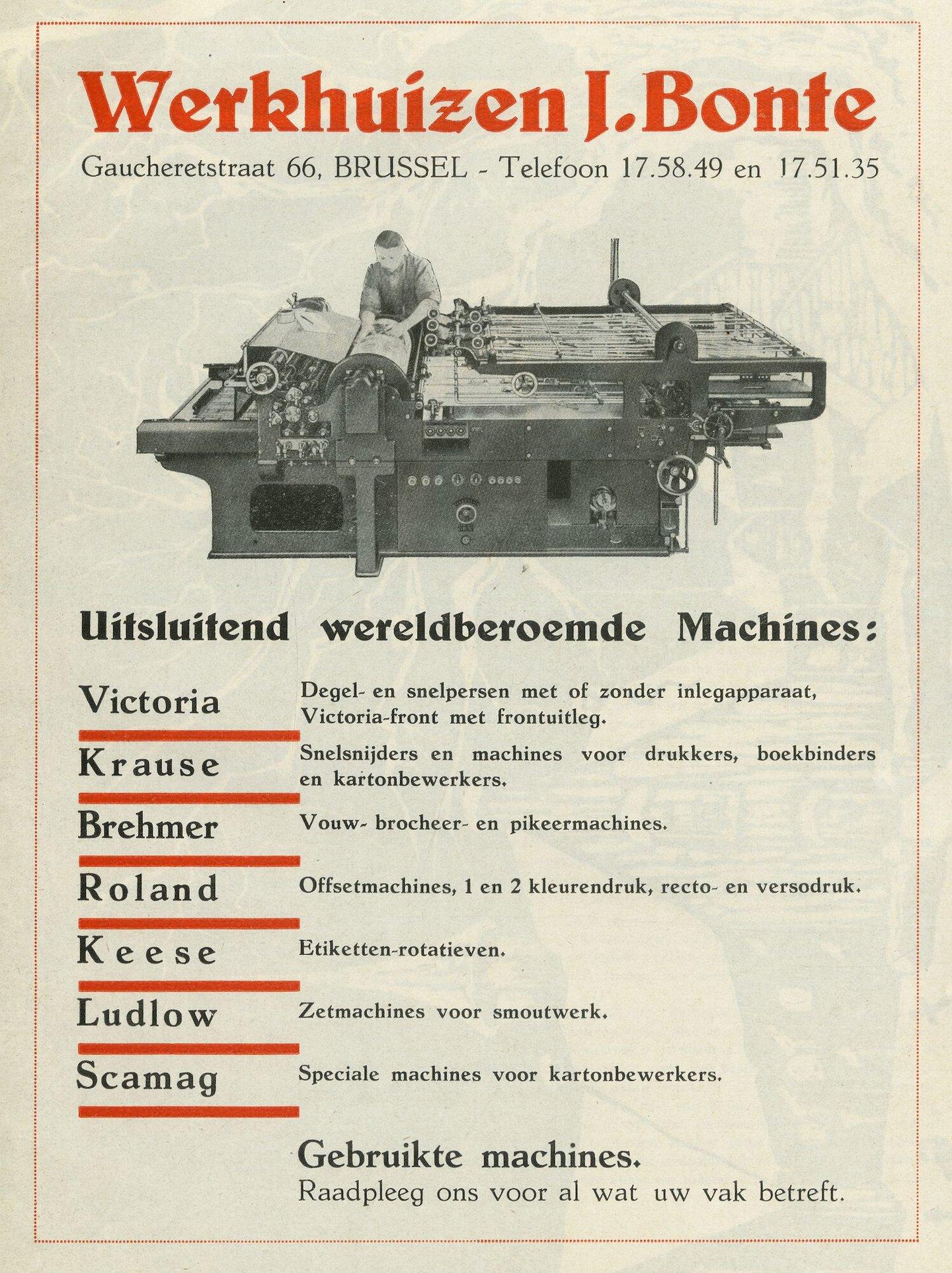Reclame voor drukkerijmachines verdeeld door Bonte