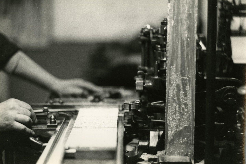Binnenzicht van drukkerij De Mont in Ninove
