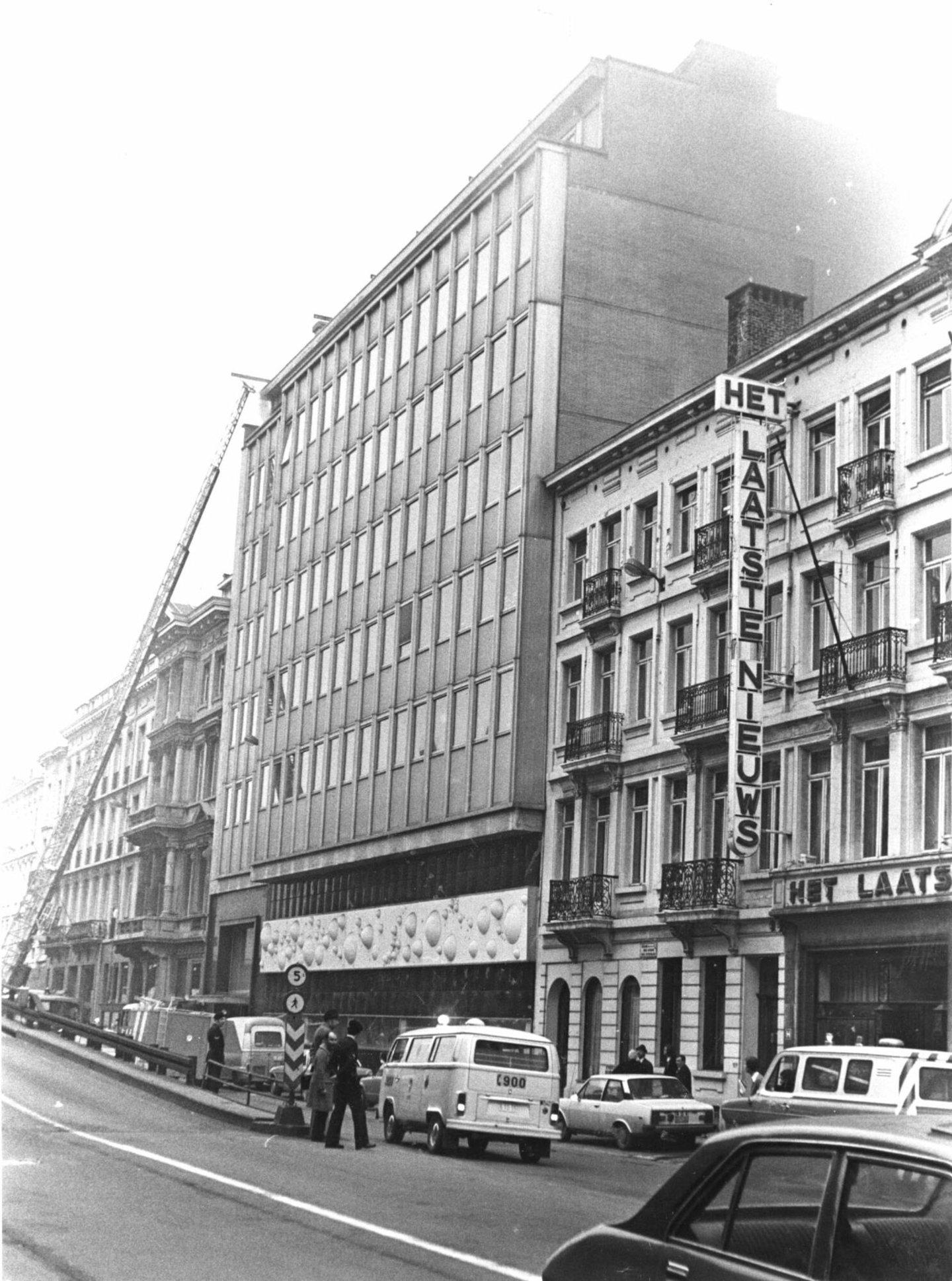 Buitenaanzicht van de gebouwen van de krant Het Laatste Nieuws te Brussel