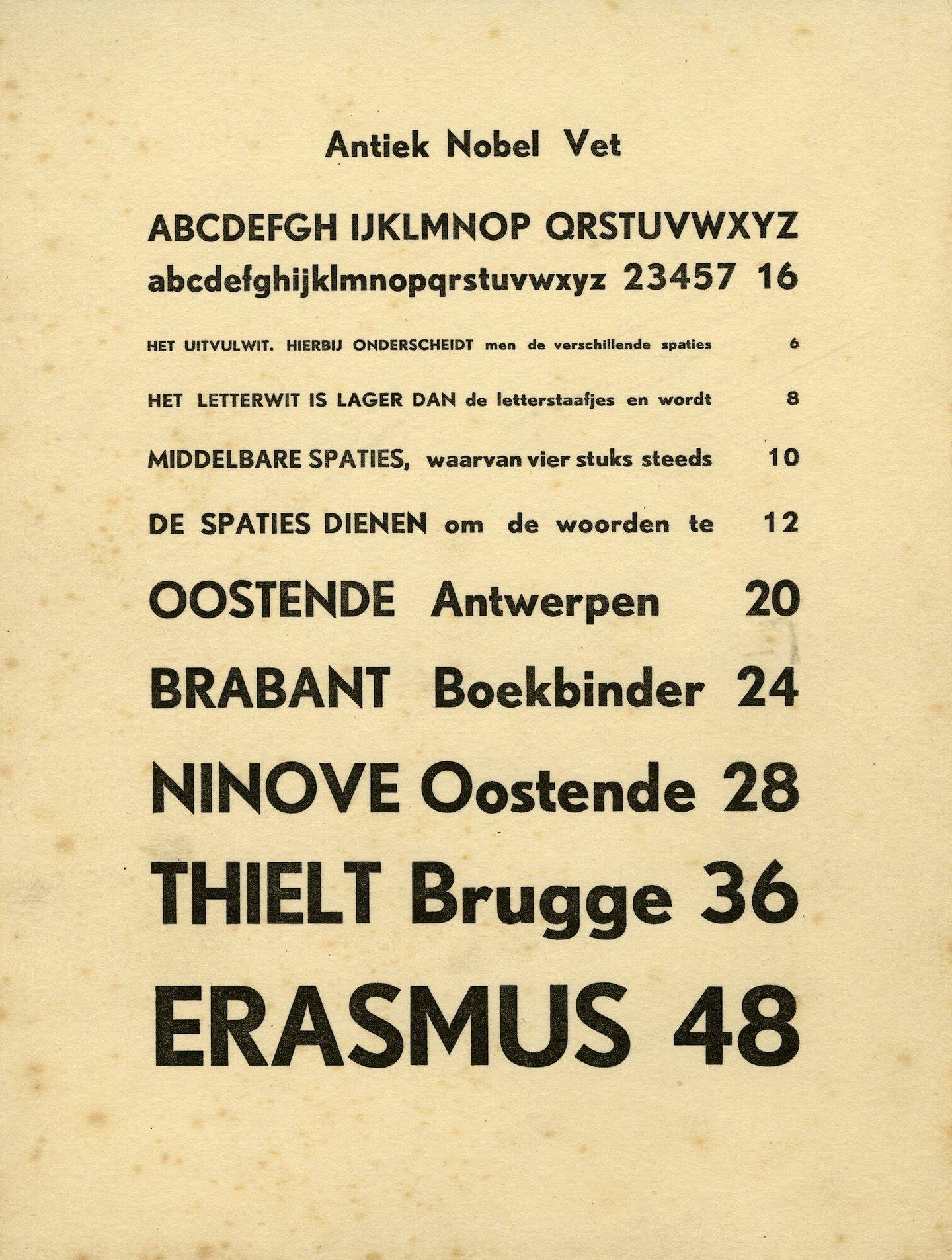 Letterproef van het lettertype Antiek Nobel Vet