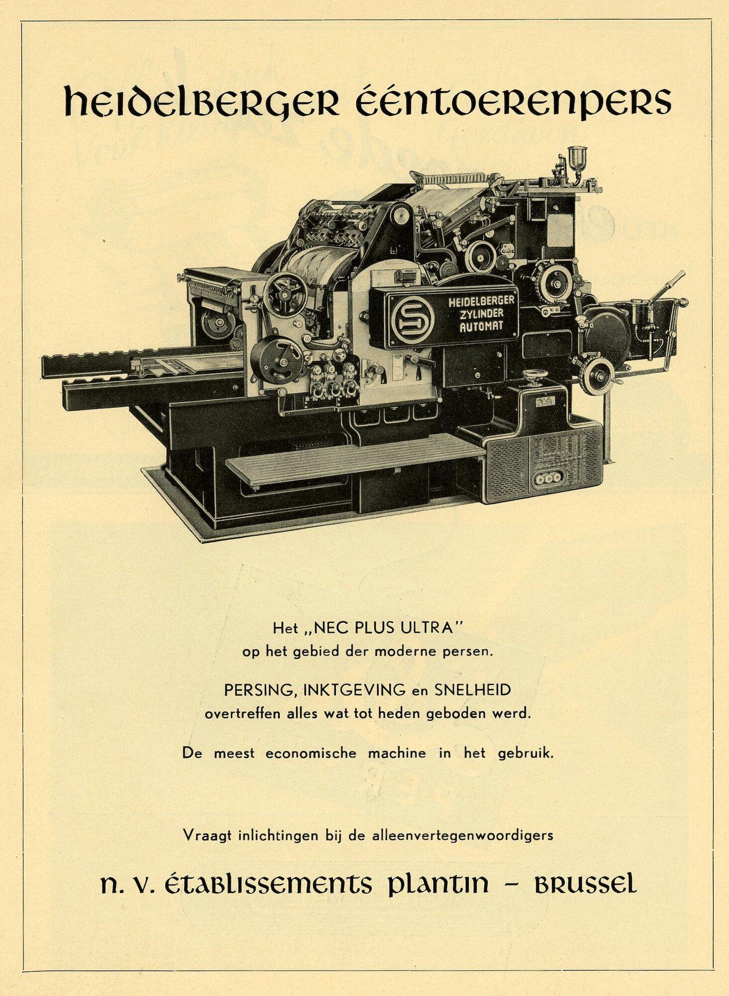 Reclame voor Heidelberg cilinderpers verdeeld door Plantin