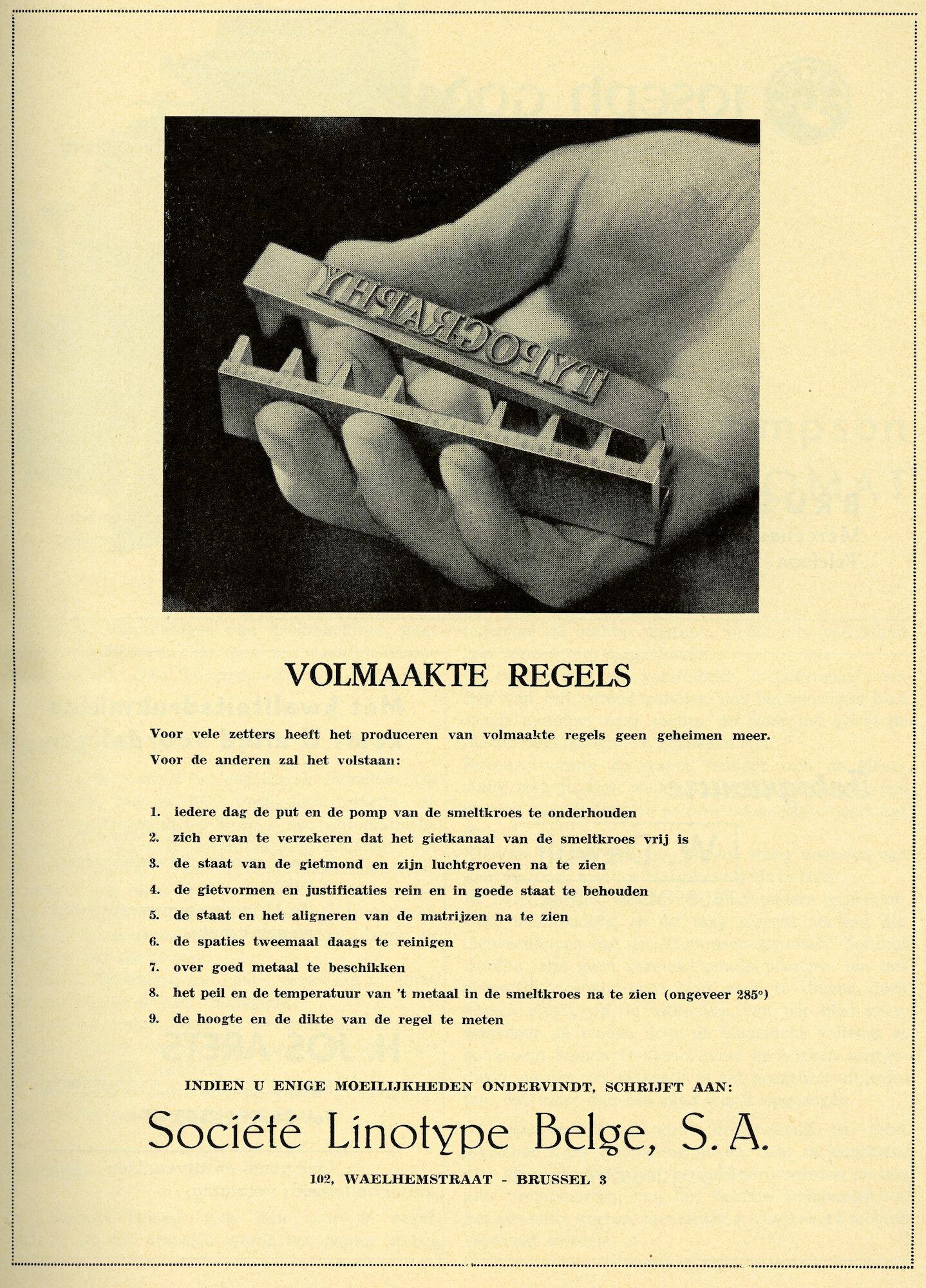 Reclame door Société Linotype Belge voor het produceren van volmaakte loden regels tekst