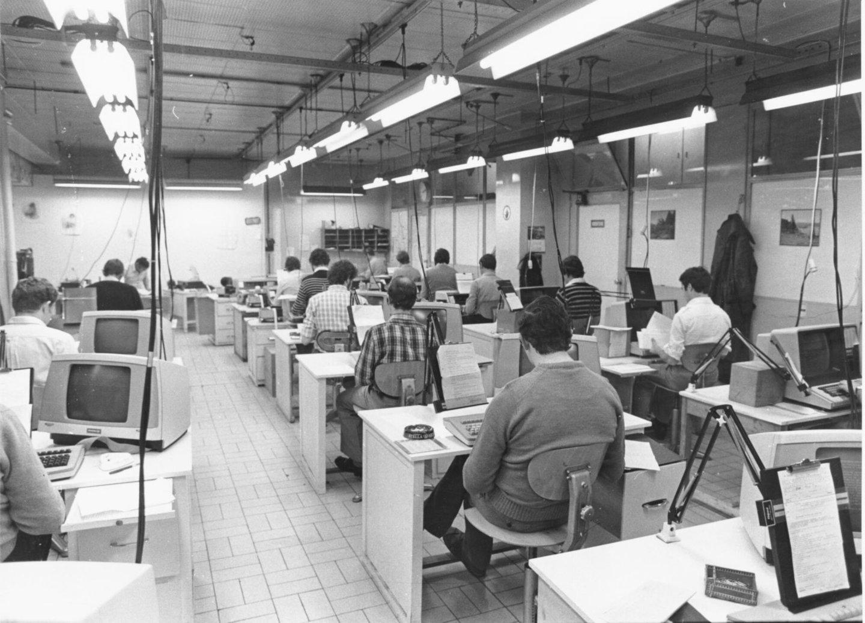 De ponsafdeling in de drukkerij van Het Laatste Nieuws te Brussel