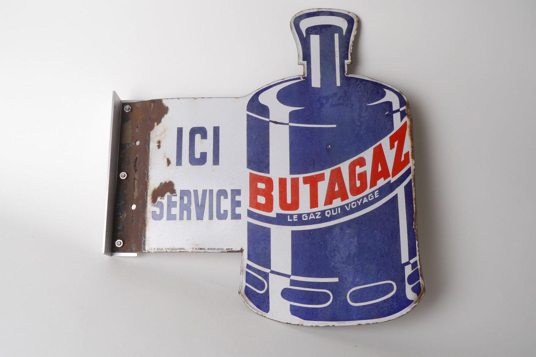 Geëmailleerd reclamebord voor Butagaz