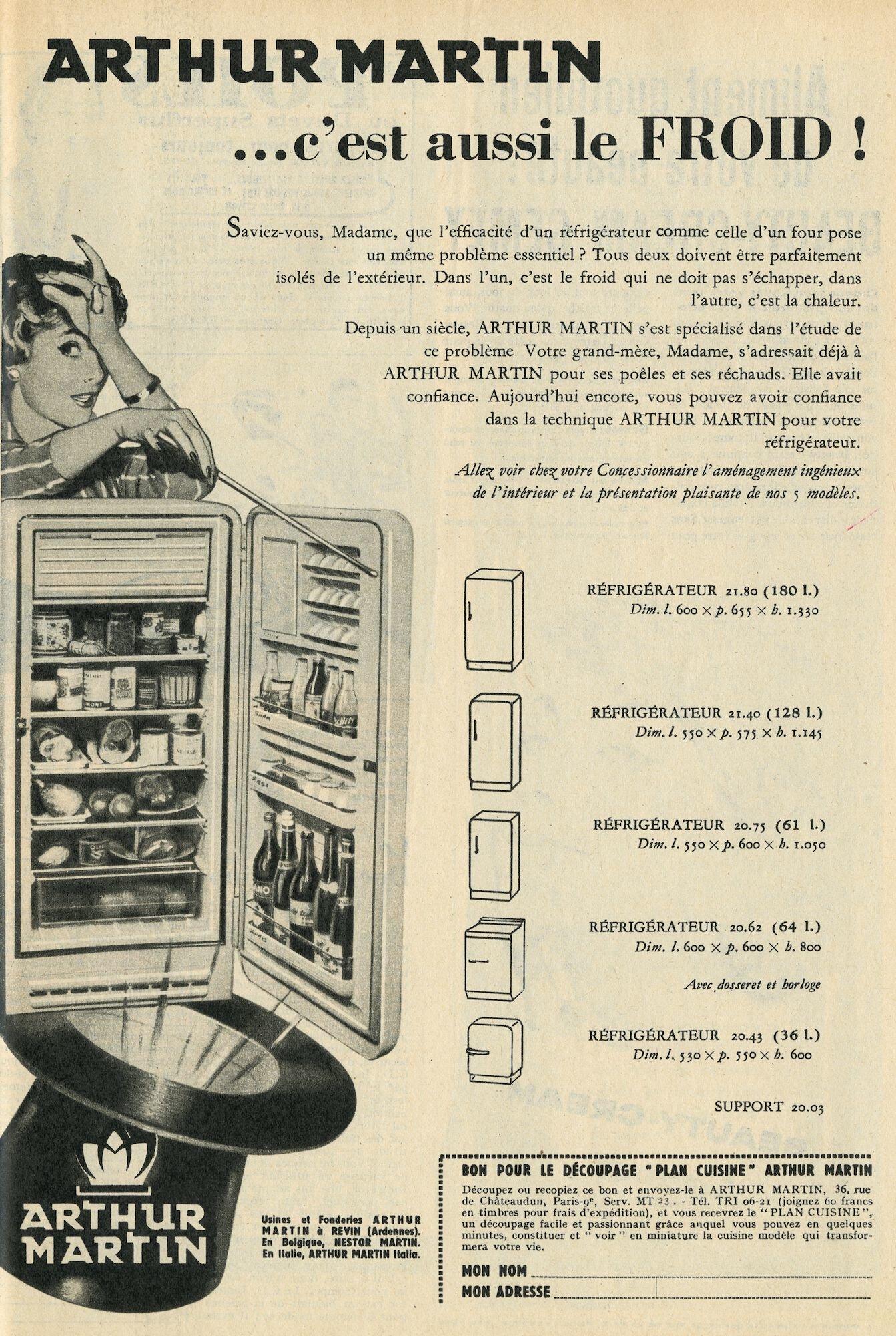 Reclame voor koelkast van het merk Arthur Martin
