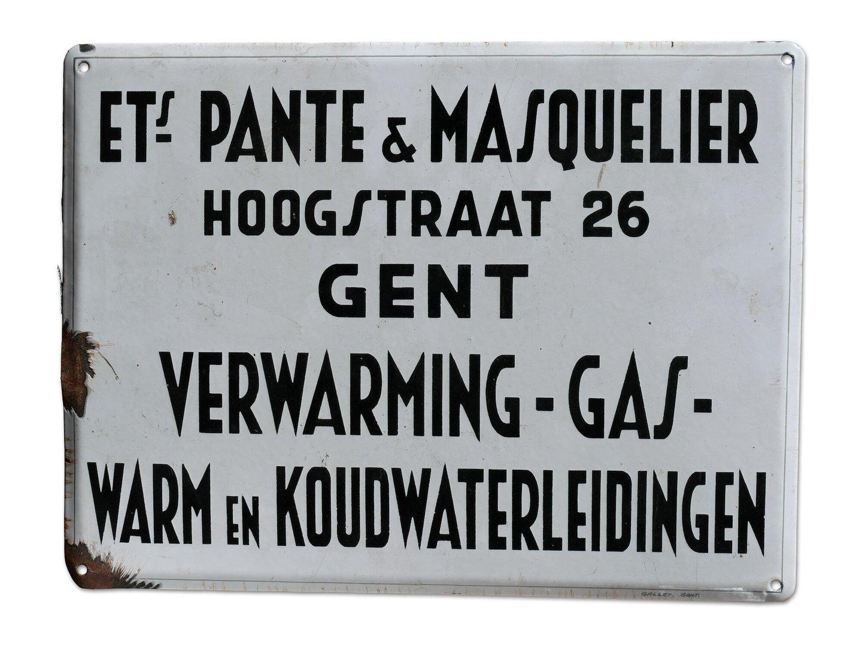 Geëmailleerd firmabord van het bedrijf Pante & Masquelier
