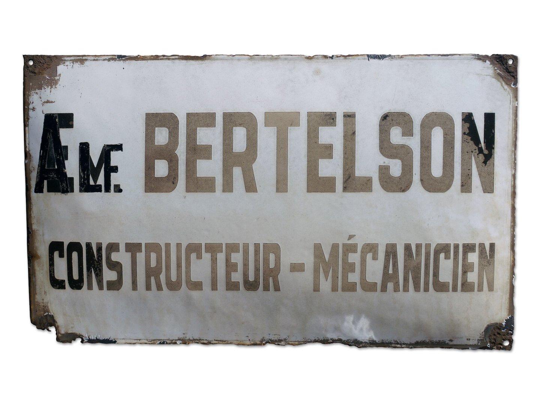 Geëmailleerd firmabord van Bertelson