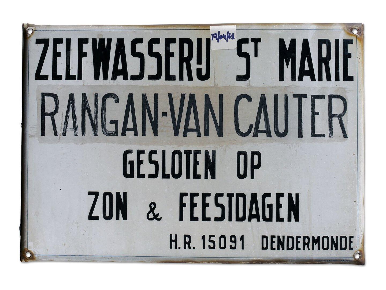 Geëmailleerd firmabord van wasserij St. Marie Rangan-Van Cauter