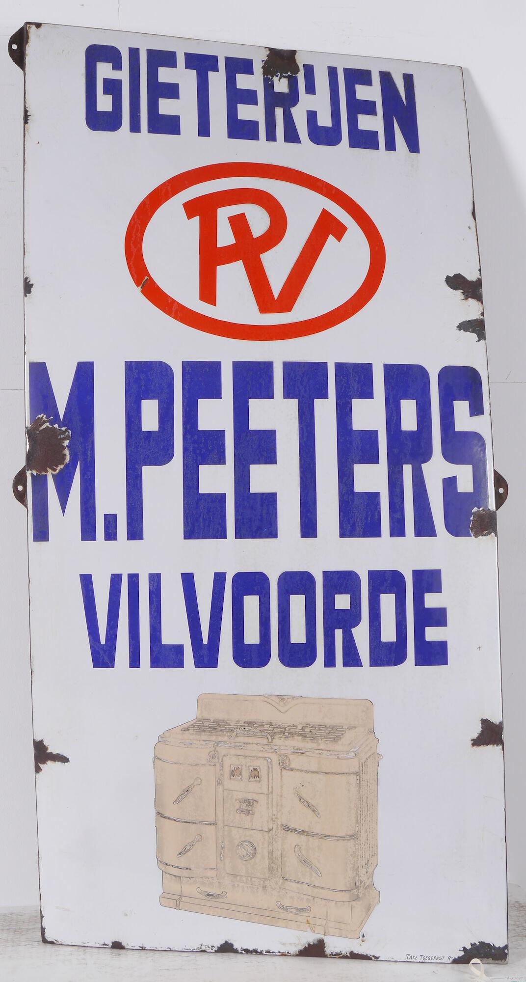 Geëmailleerd firmabord van Gieterijen Peeters