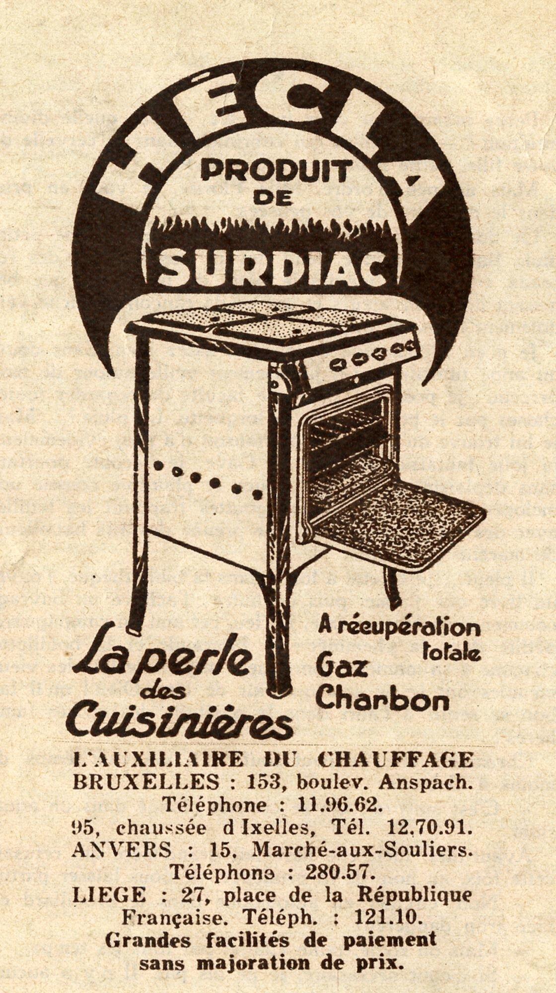 Reclame voor fornuis van het merk Surdiac