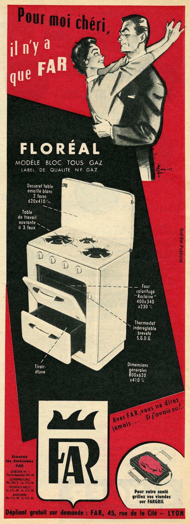 Reclame voor kookfornuis van het merk FAR