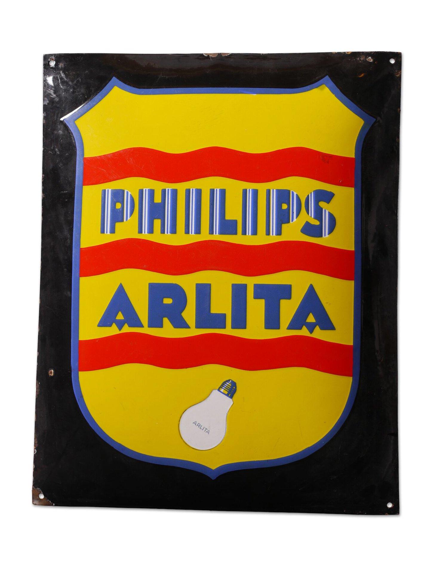 Geëmailleerd reclamebord voor lampen van het merk Philips