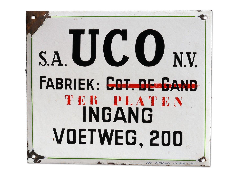 Geëmailleerd firmabord van UCO