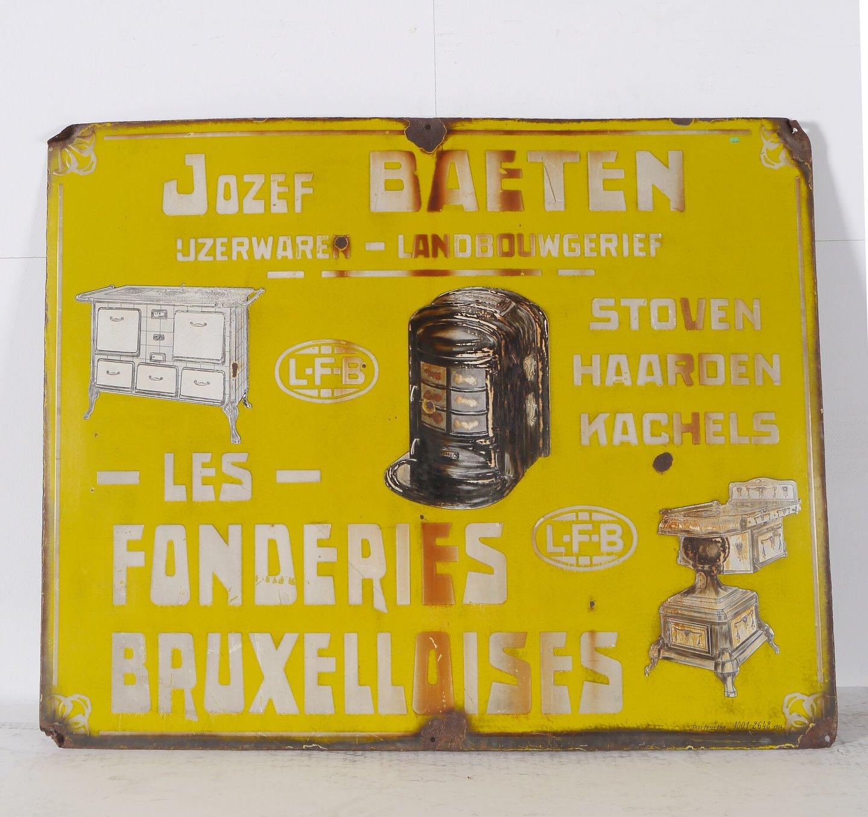 Geëmailleerd firmabord van ijzerwarenhandel Baeten