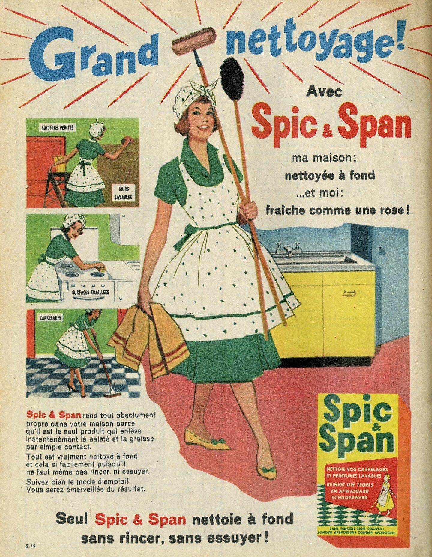Reclame voor schoonmaakmiddel van het merk Spic & Span