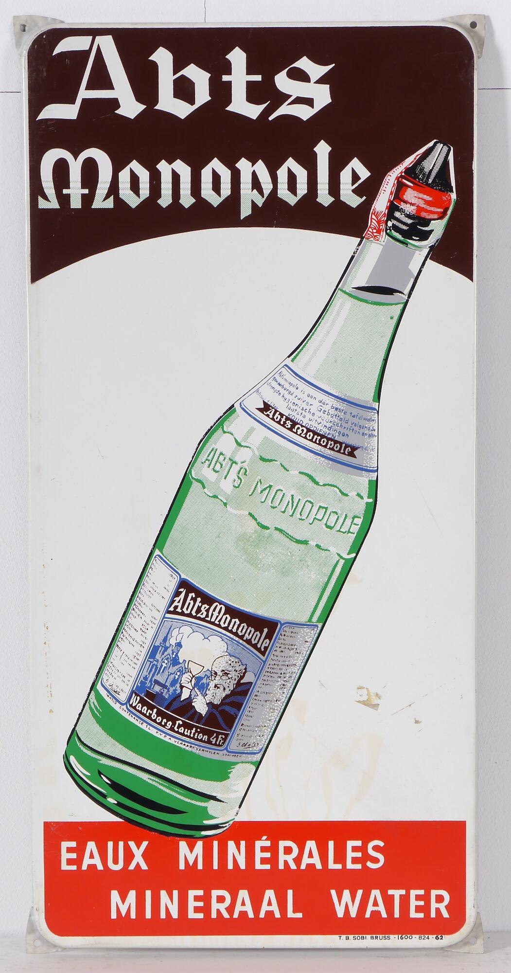 Geëmailleerd reclamebord voor miniraalwater Abts Monopole
