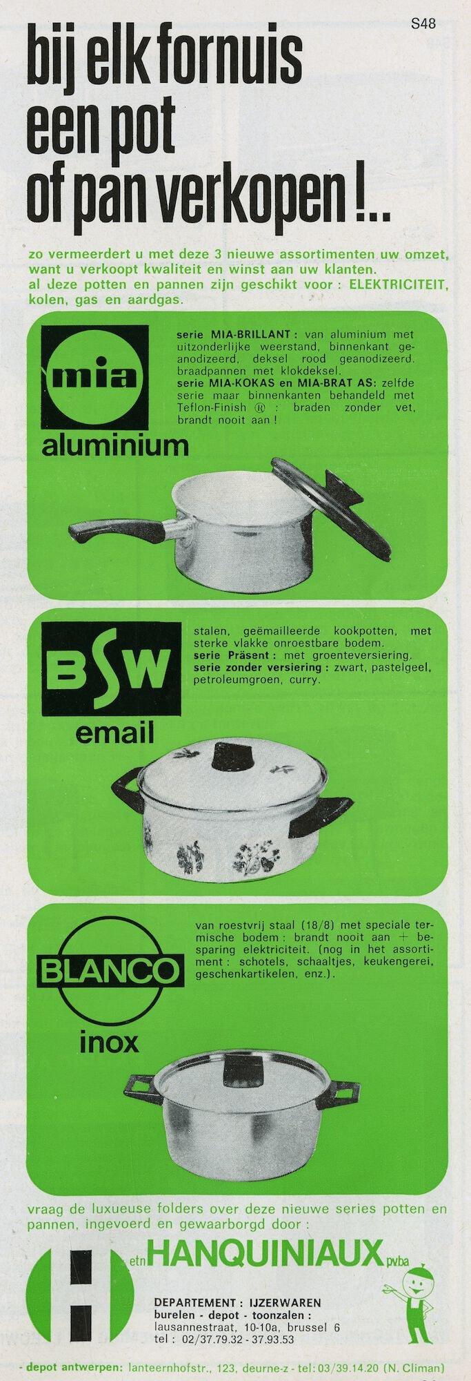Reclame voor kookpotten van de merken mia, BSW en BLANCO