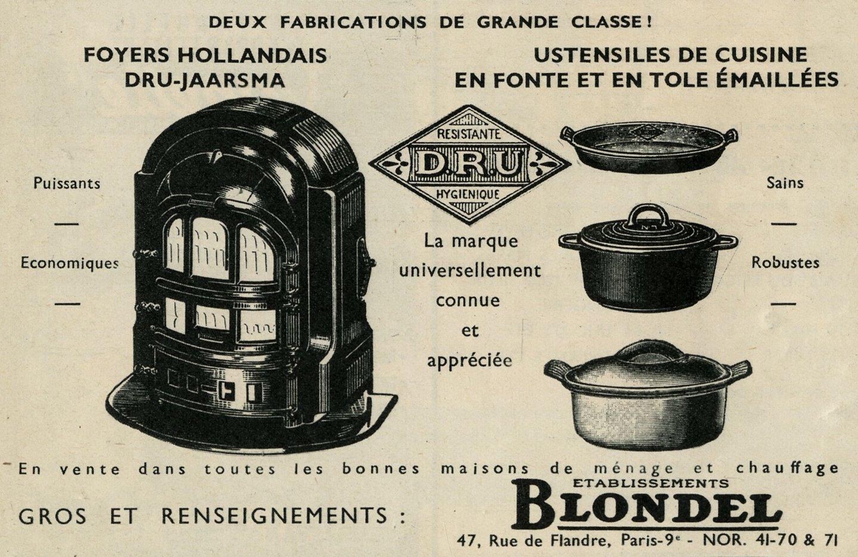 Reclame voor kachel en kookpotten van het merk Dru