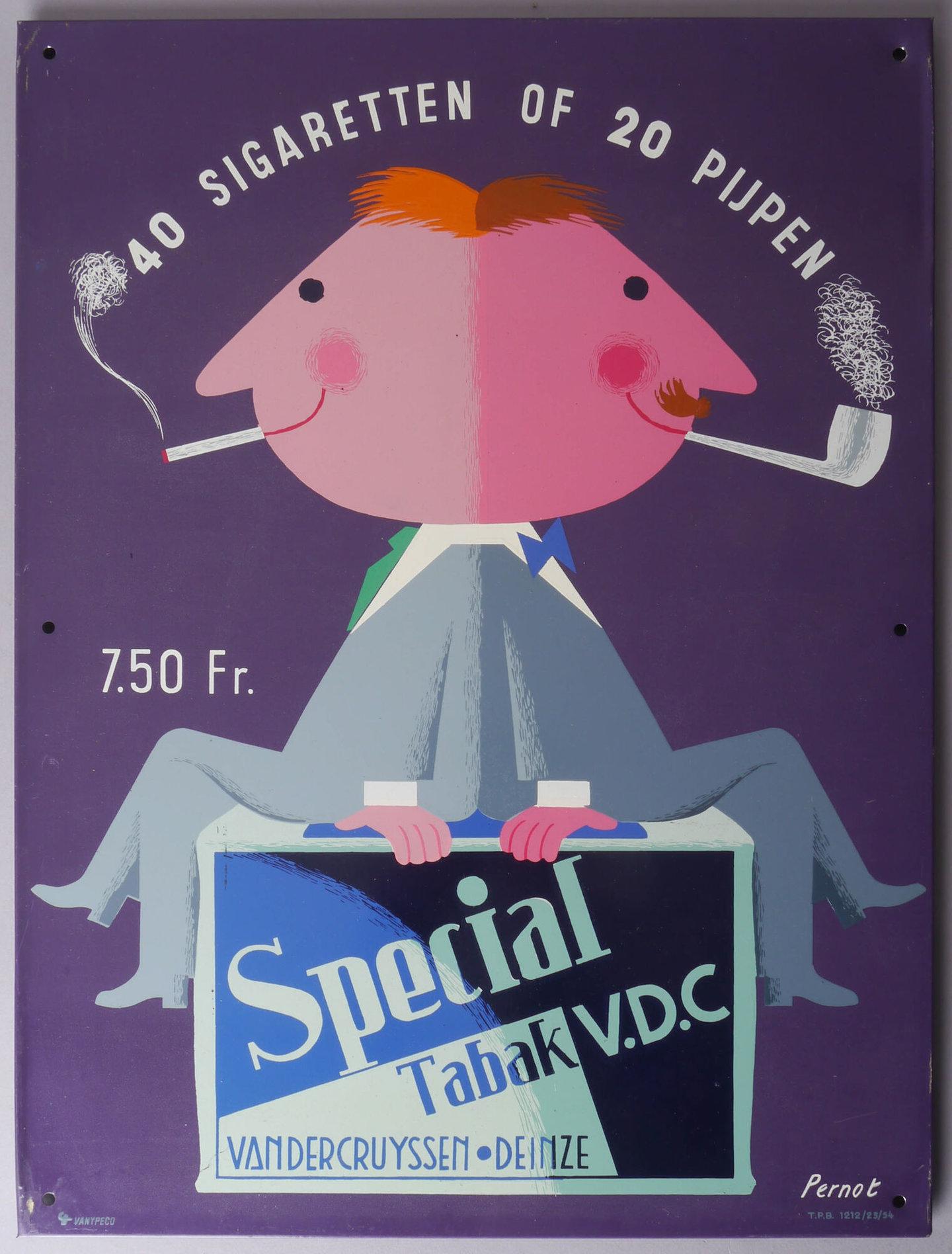 Geëmailleerd reclamebord voor Special Tabak VDC