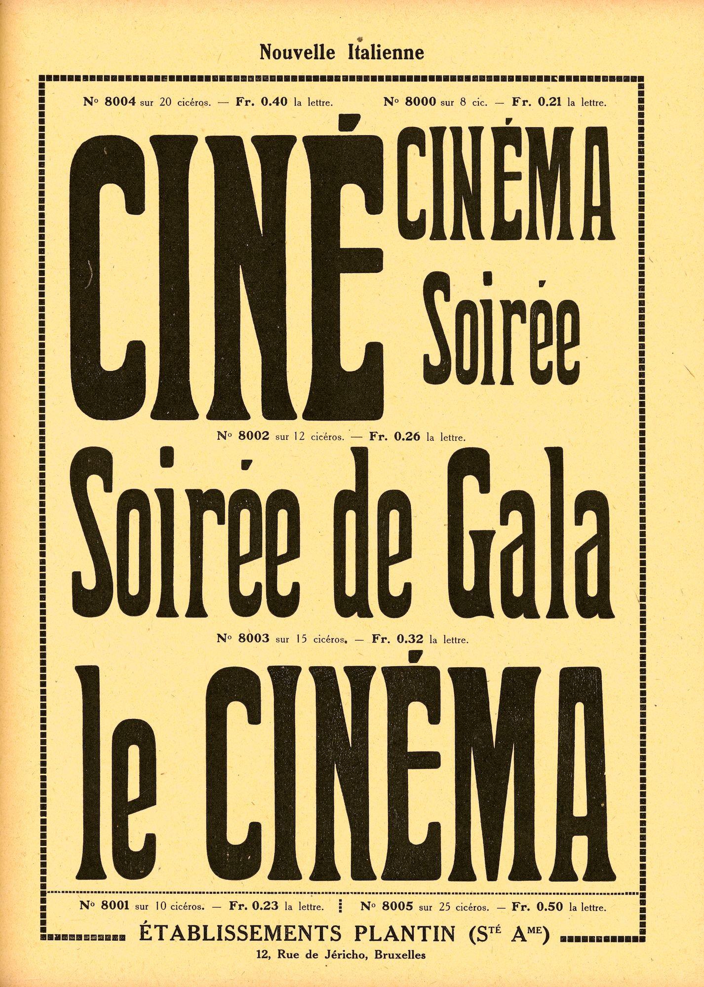 Voorbeeld van het lettertype Nouvelle Italienne van de firma Plantin te Brussel