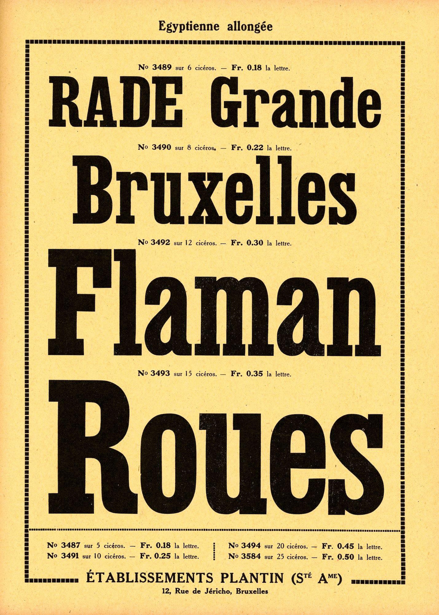 Voorbeeld van het lettertype Egyptienne allongée van de firma Plantin te Brussel