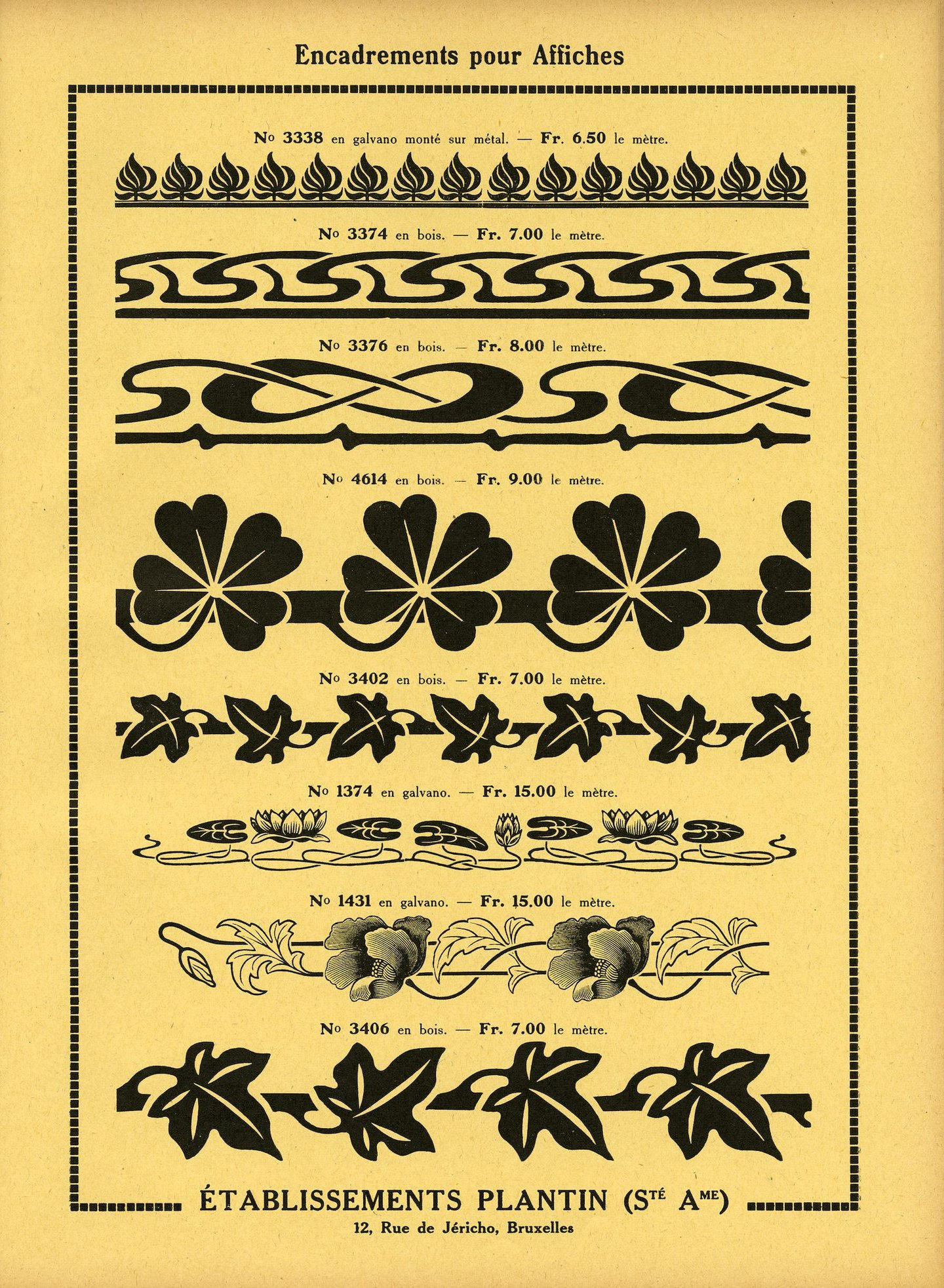 Voorbeeld van tekens voor de omlijsting van affiches van de firma Plantin te Brussel
