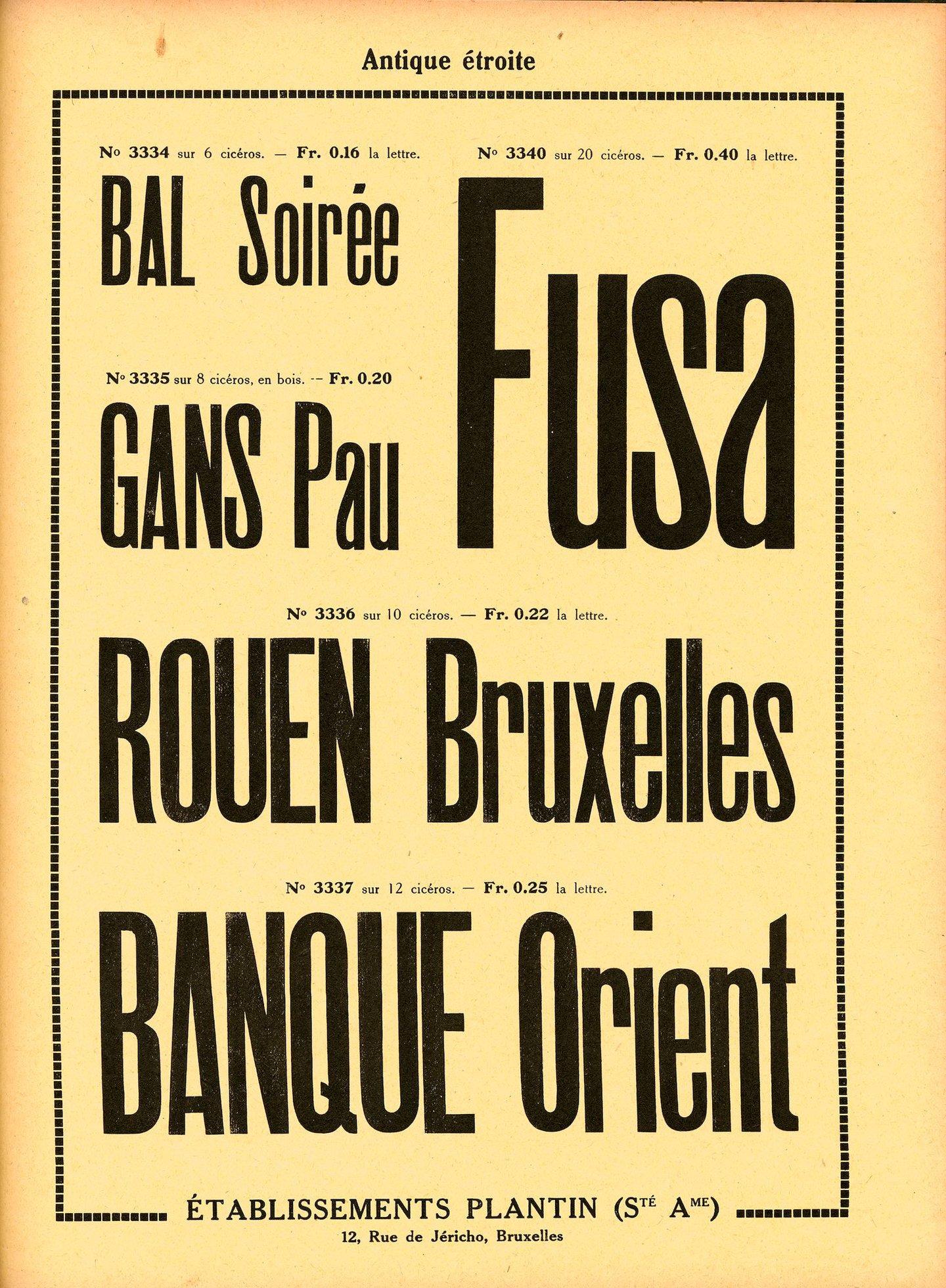 Voorbeeld van het lettertype Antique étroite van de firma Plantin te Brussel