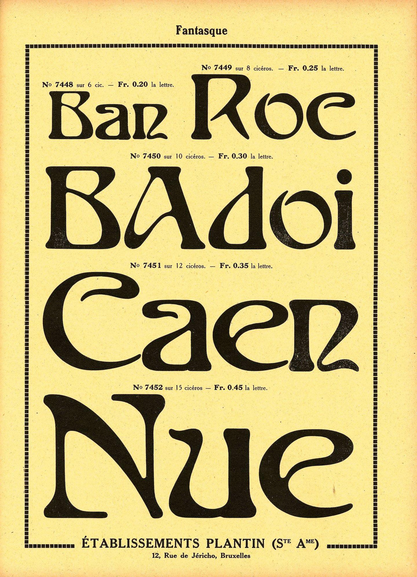 Voorbeeld van het lettertype Fantasque van de firma Plantin te Brussel