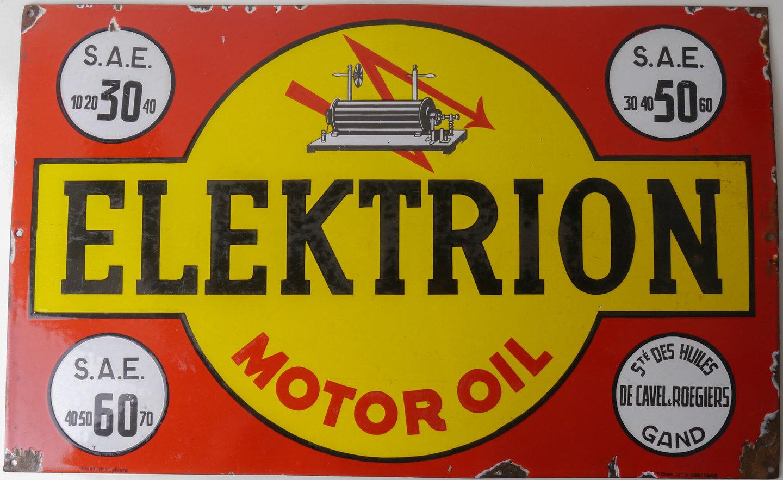 Geëmailleerd reclamebord voor het merk Elektrion