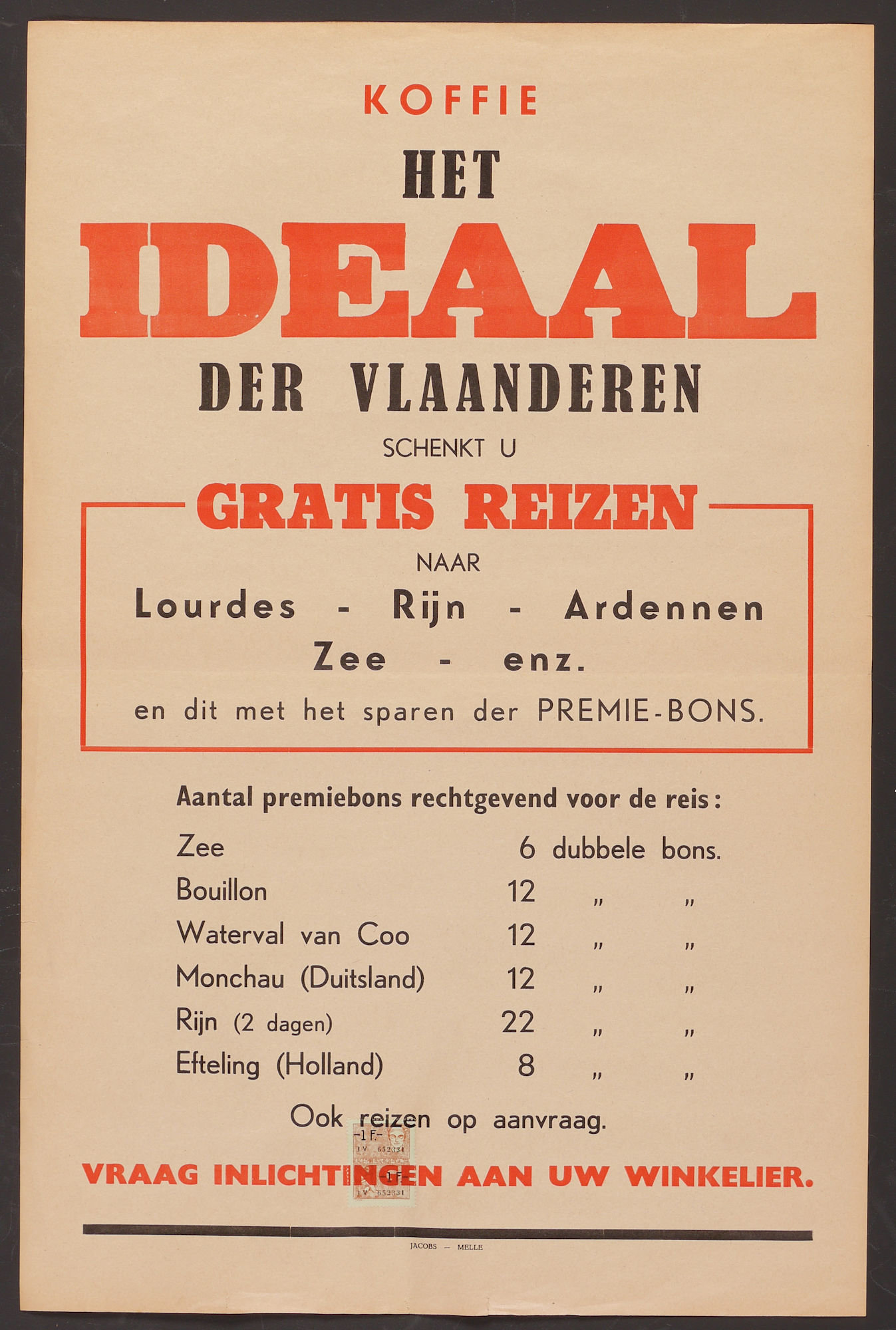Affiche voor koffie Het Ideaal der Vlaanderen