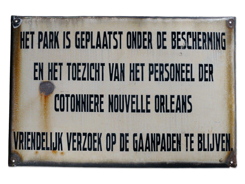 Geëmailleerd informatiebord van Cotonnière Nouvelle Orleans