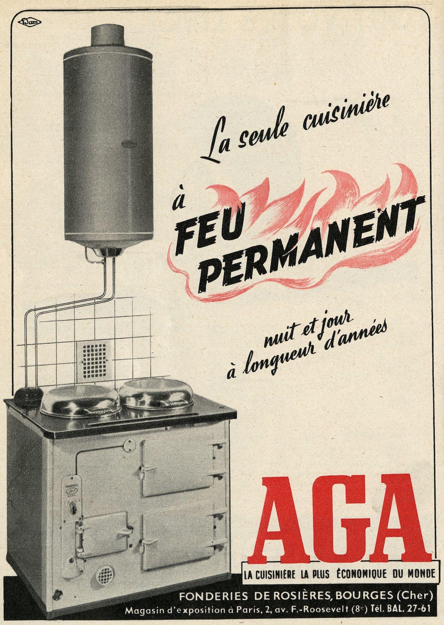 Reclame voor fornuis van het merk AGA