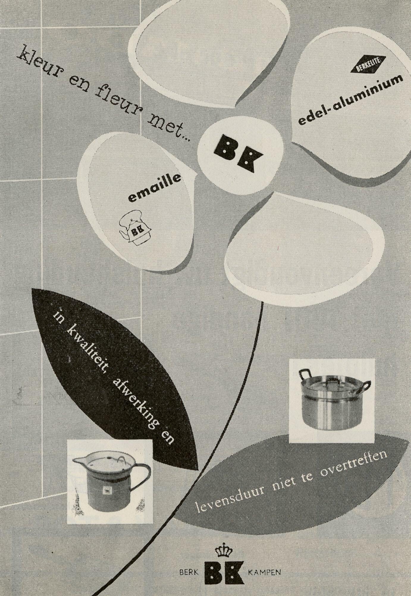 Reclame voor kookpotten van het merk Berk Kampen